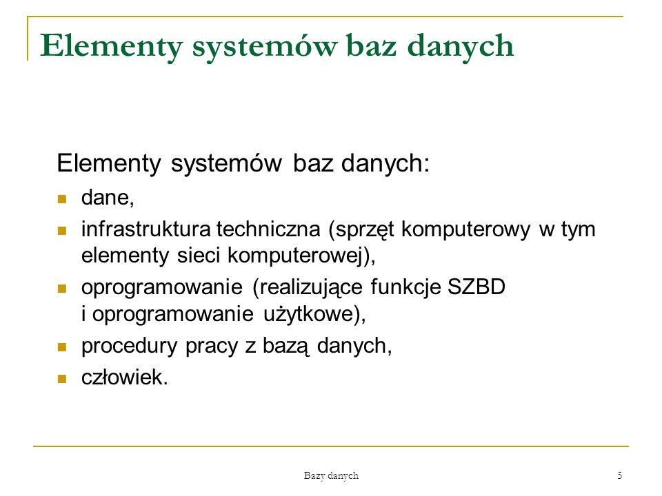 Bazy danych 5 Elementy systemów baz danych Elementy systemów baz danych: dane, infrastruktura techniczna (sprzęt komputerowy w tym elementy sieci komp