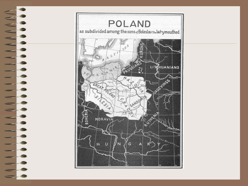 Rozbicie dzielnicowe Testament Bolesława Krzywoustego zapoczątkował w Polsce okres rozbicia dzielnicowego zwanego również rozdrobnieniem feudalnym. Ro