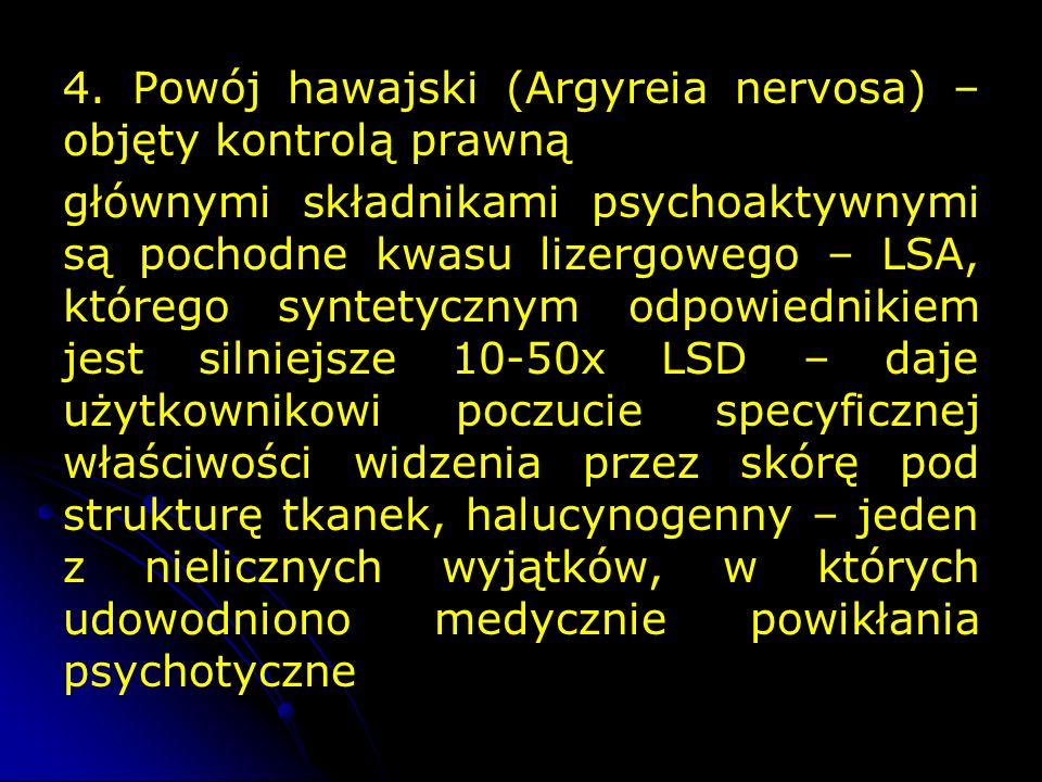 4. Powój hawajski (Argyreia nervosa) – objęty kontrolą prawną głównymi składnikami psychoaktywnymi są pochodne kwasu lizergowego – LSA, którego syntet