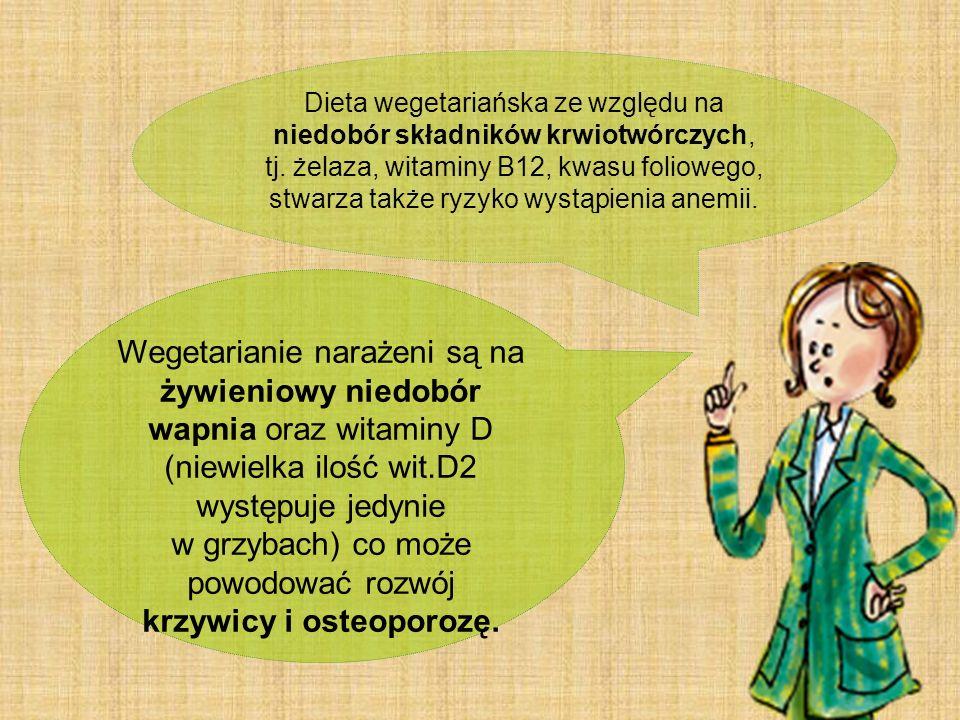 Dieta wegetariańska ze względu na niedobór składników krwiotwórczych, tj. żelaza, witaminy B12, kwasu foliowego, stwarza także ryzyko wystąpienia anem