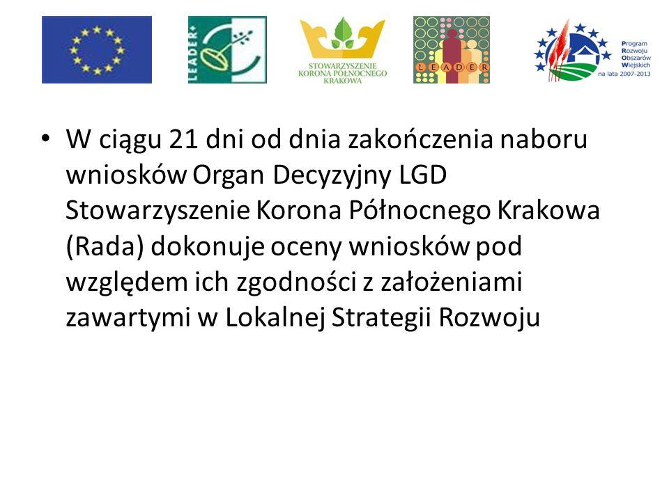 W ciągu 21 dni od dnia zakończenia naboru wniosków Organ Decyzyjny LGD Stowarzyszenie Korona Północnego Krakowa (Rada) dokonuje oceny wniosków pod względem ich zgodności z założeniami zawartymi w Lokalnej Strategii Rozwoju