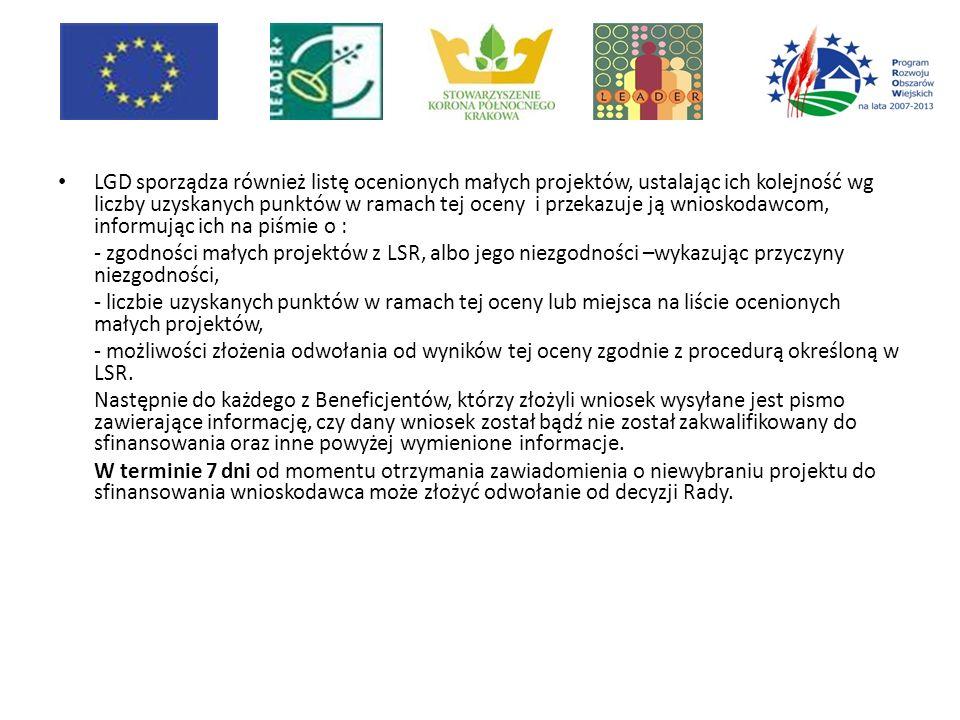LGD sporządza również listę ocenionych małych projektów, ustalając ich kolejność wg liczby uzyskanych punktów w ramach tej oceny i przekazuje ją wnioskodawcom, informując ich na piśmie o : - zgodności małych projektów z LSR, albo jego niezgodności –wykazując przyczyny niezgodności, - liczbie uzyskanych punktów w ramach tej oceny lub miejsca na liście ocenionych małych projektów, - możliwości złożenia odwołania od wyników tej oceny zgodnie z procedurą określoną w LSR.