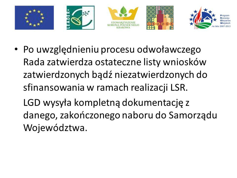 Po uwzględnieniu procesu odwoławczego Rada zatwierdza ostateczne listy wniosków zatwierdzonych bądź niezatwierdzonych do sfinansowania w ramach realizacji LSR.