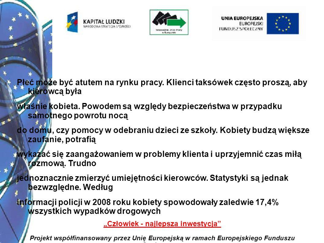 14 Człowiek - najlepsza inwestycja Projekt współfinansowany przez Unię Europejską w ramach Europejskiego Funduszu Społecznego Płeć może być atutem na rynku pracy.