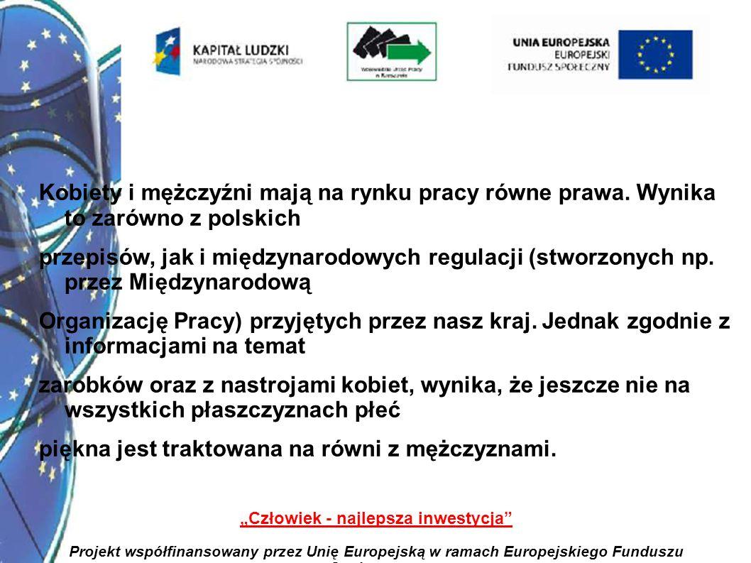 21 Człowiek - najlepsza inwestycja Projekt współfinansowany przez Unię Europejską w ramach Europejskiego Funduszu Społecznego Kobiety i mężczyźni mają na rynku pracy równe prawa.