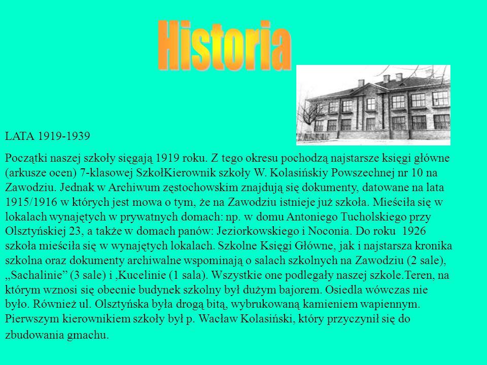 LATA 1919-1939 Początki naszej szkoły sięgają 1919 roku. Z tego okresu pochodzą najstarsze księgi główne (arkusze ocen) 7-klasowej SzkołKierownik szko