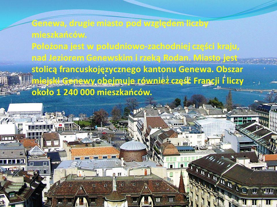 Genewa, drugie miasto pod względem liczby mieszkańców. Położona jest w południowo-zachodniej części kraju, nad Jeziorem Genewskim i rzeką Rodan. Miast