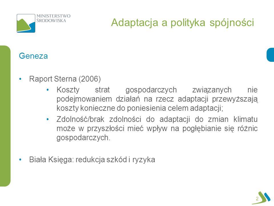 Adaptacja a polityka spójności Raport Sterna (2006) Koszty strat gospodarczych związanych nie podejmowaniem działań na rzecz adaptacji przewyższają koszty konieczne do poniesienia celem adaptacji; Zdolność/brak zdolności do adaptacji do zmian klimatu może w przyszłości mieć wpływ na pogłębianie się różnic gospodarczych.