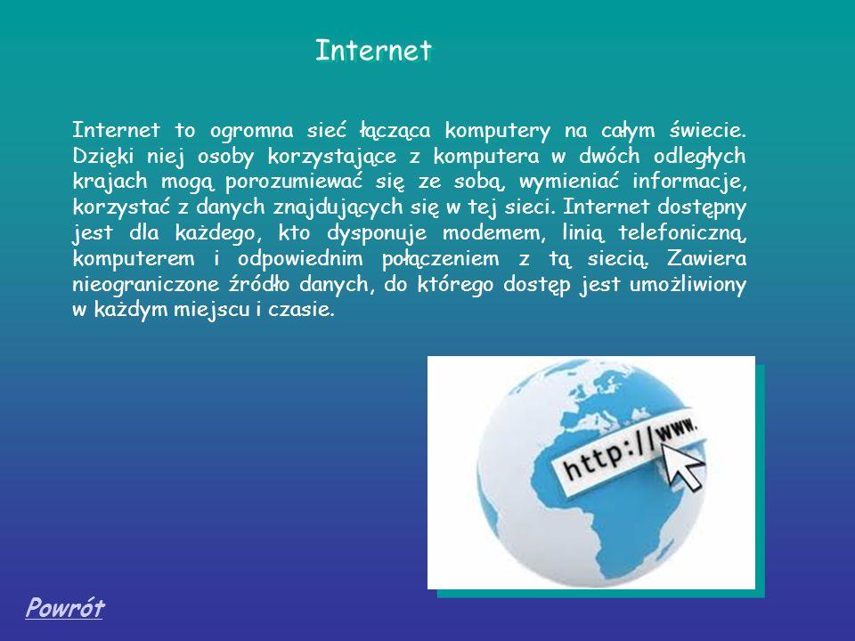 Internet Internet to ogromna sieć łącząca komputery na całym świecie. Dzięki niej osoby korzystające z komputera w dwóch odległych krajach mogą porozu