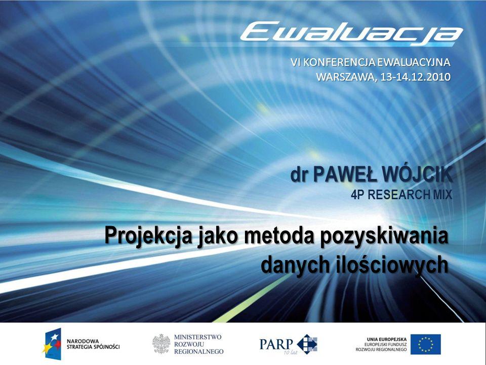 dr PAWEŁ WÓJCIK dr PAWEŁ WÓJCIK 4P RESEARCH MIX Projekcja jako metoda pozyskiwania danych ilościowych VI KONFERENCJA EWALUACYJNA WARSZAWA, 13-14.12.20