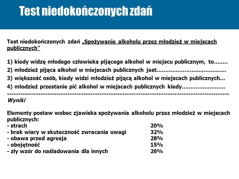 Test niedokończonych zdań Test niedokończonych zdań Spożywanie alkoholu przez młodzież w miejscach publicznych 1) kiedy widzę młodego człowieka pijące