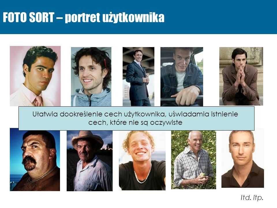 FOTO SORT – portret użytkownika Itd. itp. Ułatwia dookreślenie cech użytkownika, uświadamia istnienie cech, które nie są oczywiste