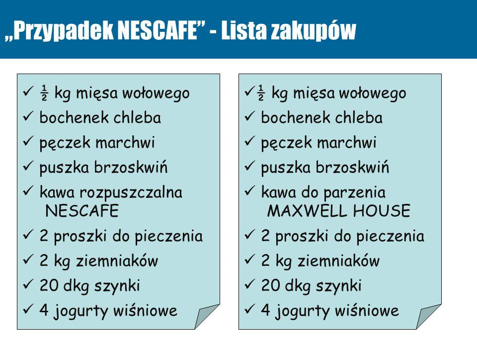 Przypadek NESCAFE - Lista zakupów ½ kg mięsa wołowego bochenek chleba pęczek marchwi puszka brzoskwiń kawa rozpuszczalna NESCAFE 2 proszki do pieczeni