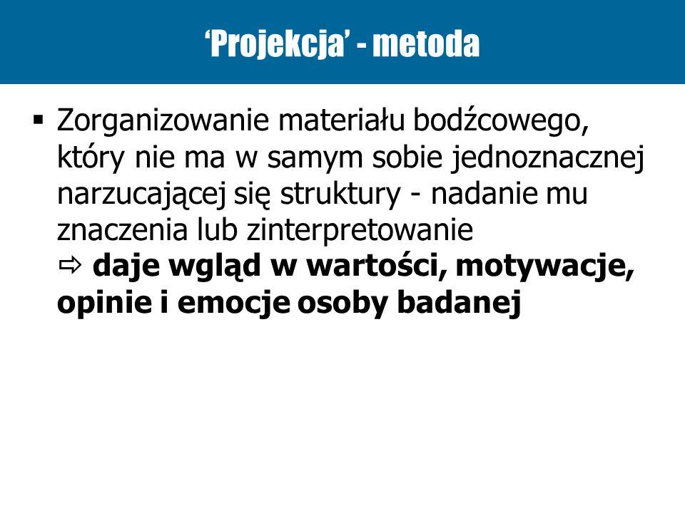 Projekcja - metoda Zorganizowanie materiału bodźcowego, który nie ma w samym sobie jednoznacznej narzucającej się struktury - nadanie mu znaczenia lub