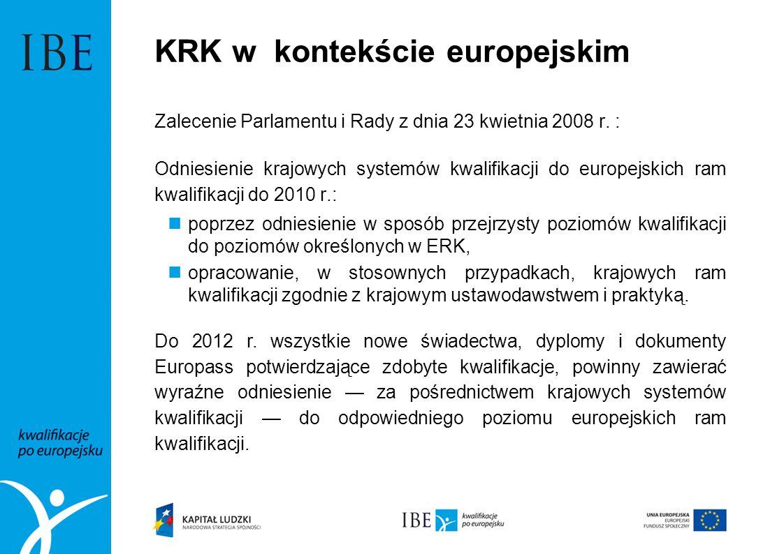 KRK w kontekście europejskim Zalecenie Parlamentu i Rady z dnia 23 kwietnia 2008 r. : Odniesienie krajowych systemów kwalifikacji do europejskich ram