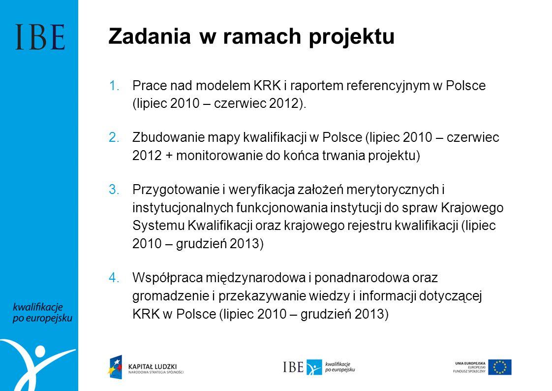 Zadania w ramach projektu 1.Prace nad modelem KRK i raportem referencyjnym w Polsce (lipiec 2010 – czerwiec 2012). 2.Zbudowanie mapy kwalifikacji w Po