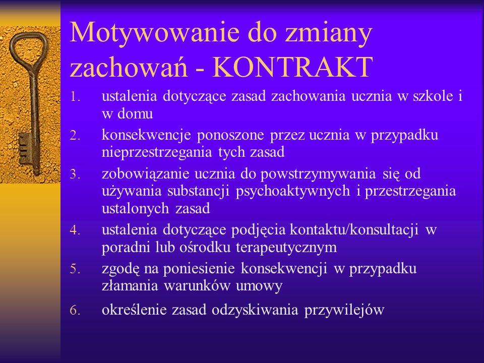 Motywowanie do zmiany zachowań - KONTRAKT 1. ustalenia dotyczące zasad zachowania ucznia w szkole i w domu 2. konsekwencje ponoszone przez ucznia w pr