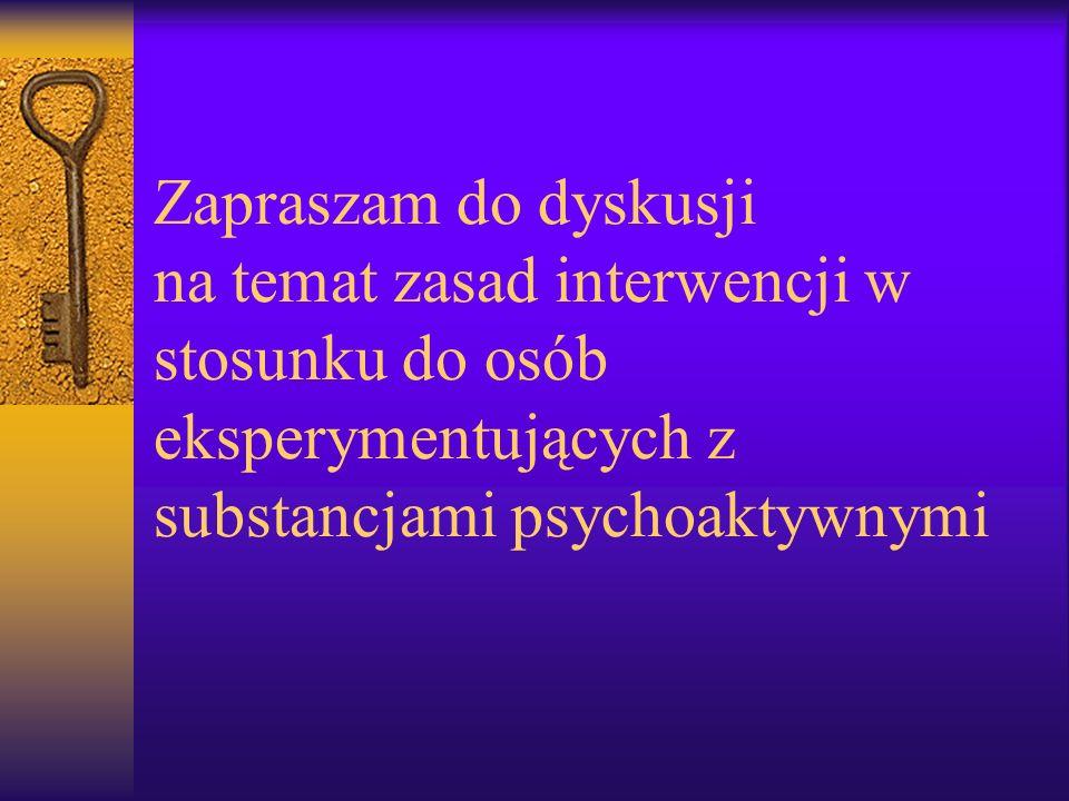 Zapraszam do dyskusji na temat zasad interwencji w stosunku do osób eksperymentujących z substancjami psychoaktywnymi