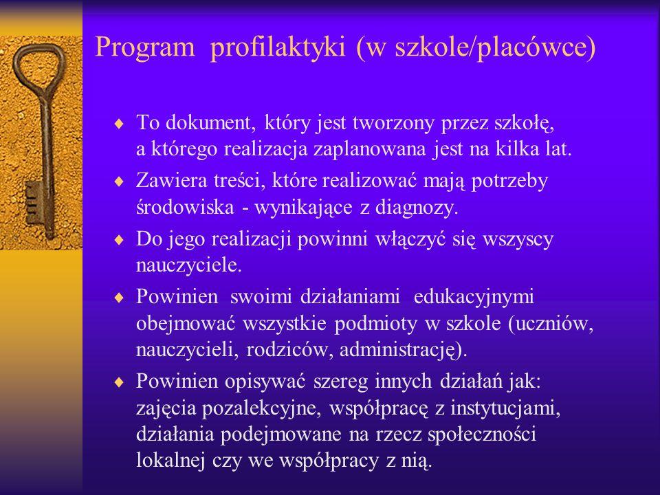 Program profilaktyki (w szkole/placówce) To dokument, który jest tworzony przez szkołę, a którego realizacja zaplanowana jest na kilka lat. Zawiera tr