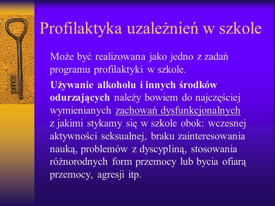 Profilaktyka uzależnień w szkole Może być realizowana jako jedno z zadań programu profilaktyki w szkole. Używanie alkoholu i innych środków odurzający