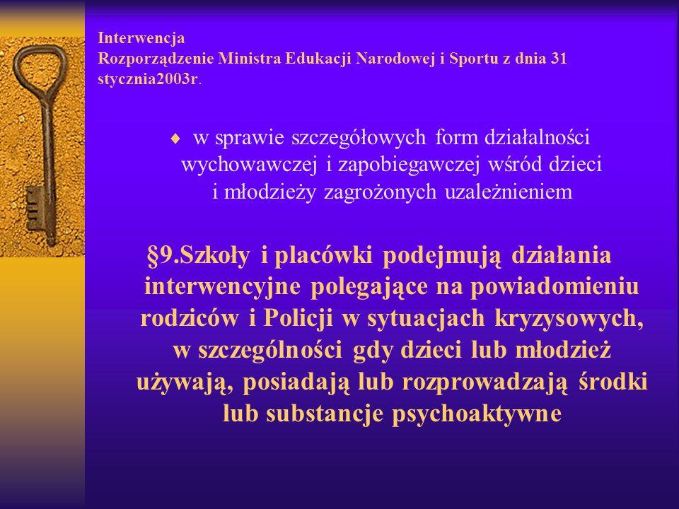 Interwencja Rozporządzenie Ministra Edukacji Narodowej i Sportu z dnia 31 stycznia2003r. w sprawie szczegółowych form działalności wychowawczej i zapo