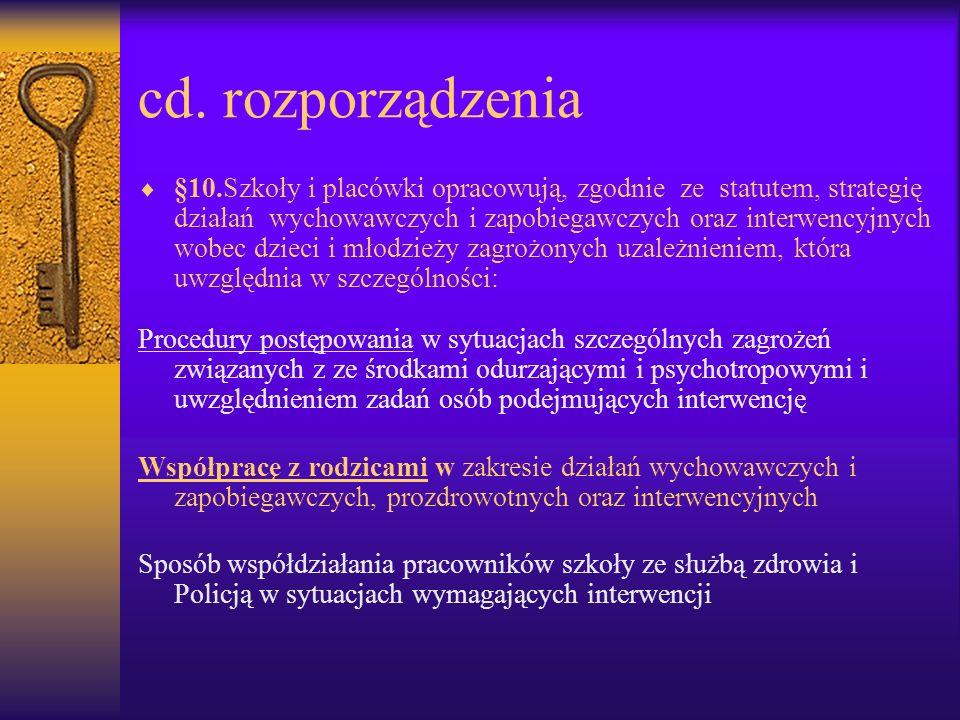 cd. rozporządzenia §10.Szkoły i placówki opracowują, zgodnie ze statutem, strategię działań wychowawczych i zapobiegawczych oraz interwencyjnych wobec