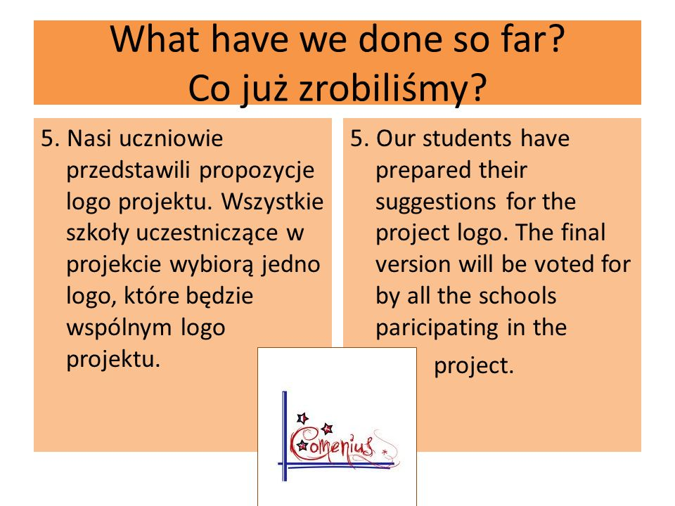 What have we done so far. Co już zrobiliśmy. 5.
