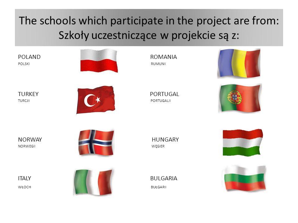 The schools which participate in the project are from: Szkoły uczestniczące w projekcie są z: POLAND ROMANIA POLSKI RUMUNII TURKEY PORTUGAL TURCJII PORTUGALII NORWAY HUNGARY NORWEGII WĘGIER ITALY BULGARIA WŁOCH BUŁGARII