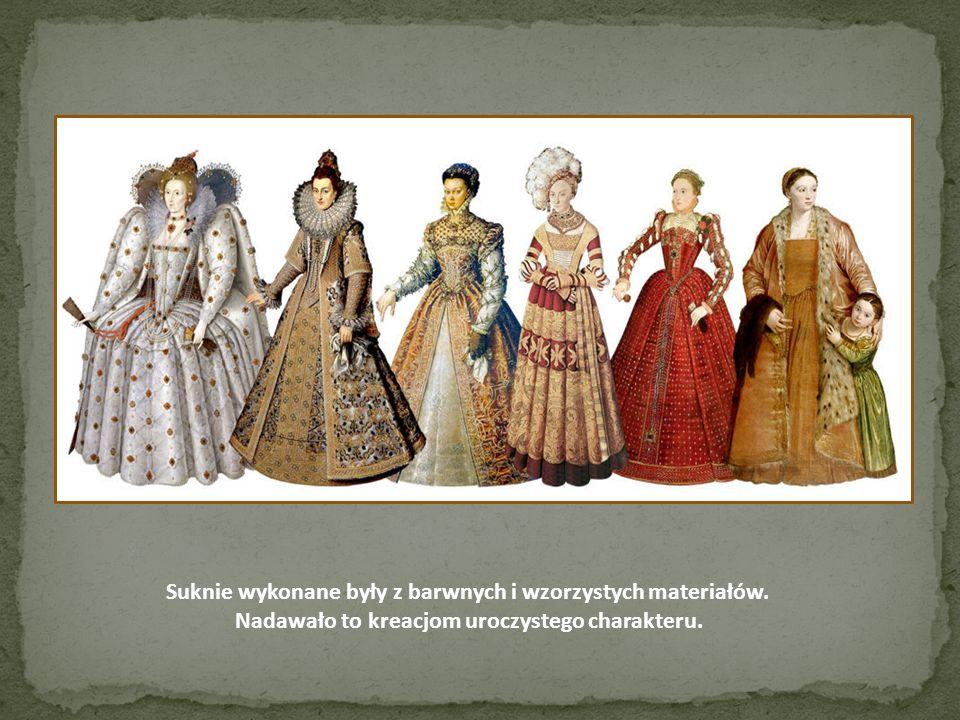 Suknie wykonane były z barwnych i wzorzystych materiałów. Nadawało to kreacjom uroczystego charakteru.