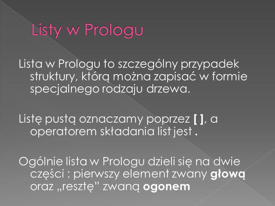 Lista w Prologu to szczególny przypadek struktury, którą można zapisać w formie specjalnego rodzaju drzewa. Listę pustą oznaczamy poprzez [ ], a opera