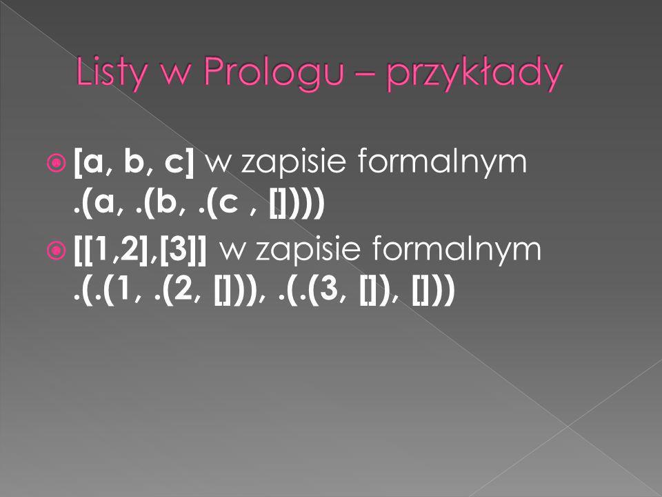 [a, b, c] w zapisie formalnym.(a,.(b,.(c, []))) [[1,2],[3]] w zapisie formalnym.(.(1,.(2, [])),.(.(3, []), []))