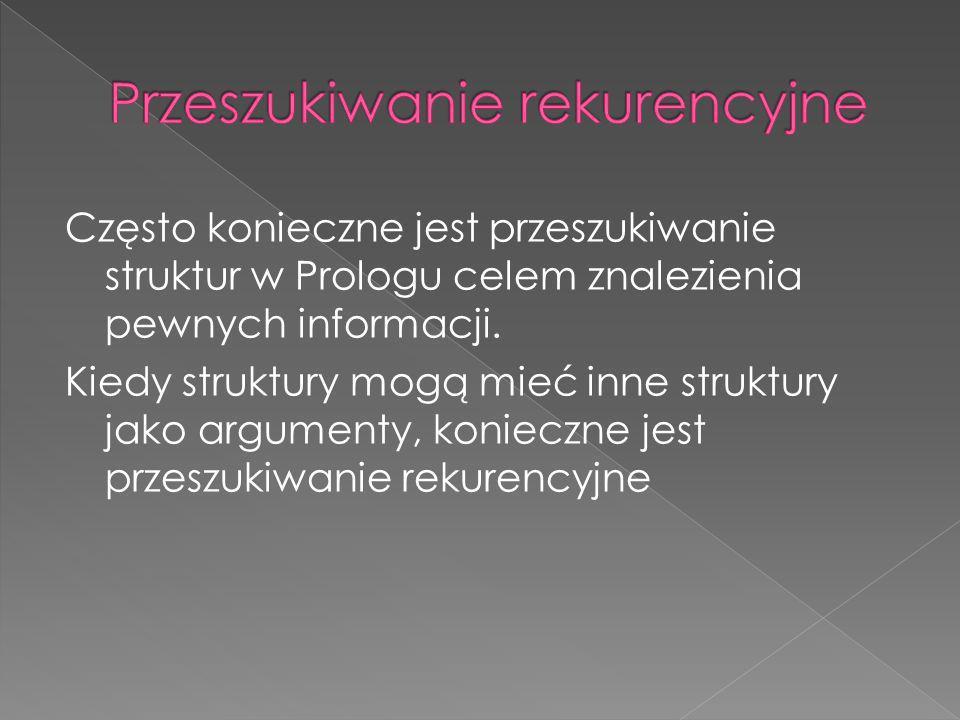 Często konieczne jest przeszukiwanie struktur w Prologu celem znalezienia pewnych informacji. Kiedy struktury mogą mieć inne struktury jako argumenty,
