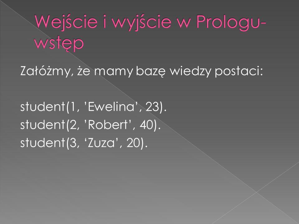 Załóżmy, że mamy bazę wiedzy postaci: student(1, Ewelina, 23). student(2, Robert, 40). student(3, Zuza, 20).