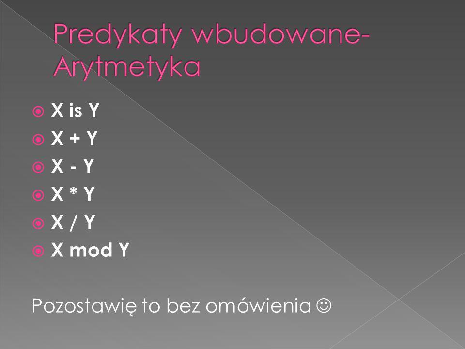 X is Y X + Y X - Y X * Y X / Y X mod Y Pozostawię to bez omówienia