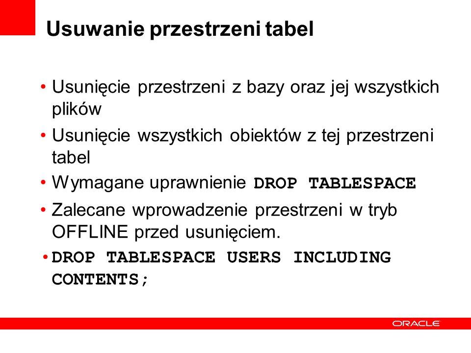 Usuwanie przestrzeni tabel Usunięcie przestrzeni z bazy oraz jej wszystkich plików Usunięcie wszystkich obiektów z tej przestrzeni tabel Wymagane upra