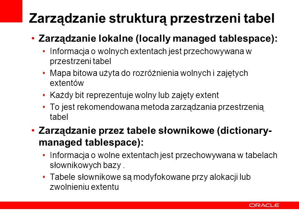 Zarządzanie strukturą przestrzeni tabel Zarządzanie lokalne (locally managed tablespace): Informacja o wolnych extentach jest przechowywana w przestrz