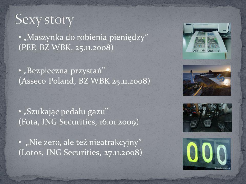 Maszynka do robienia pieniędzy (PEP, BZ WBK, 25.11.2008) Bezpieczna przystań (Asseco Poland, BZ WBK 25.11.2008) Szukając pedału gazu (Fota, ING Securities, 16.01.2009) Nie zero, ale też nieatrakcyjny (Lotos, ING Securities, 27.11.2008)