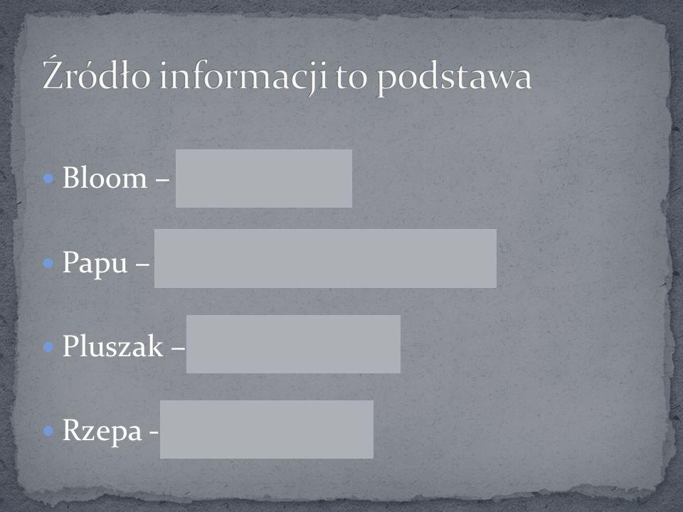 Bloom – Bloomberg Papu – Serwis informacyjny PAP Pluszak – Puls Biznesu Rzepa - Rzeczpospolita