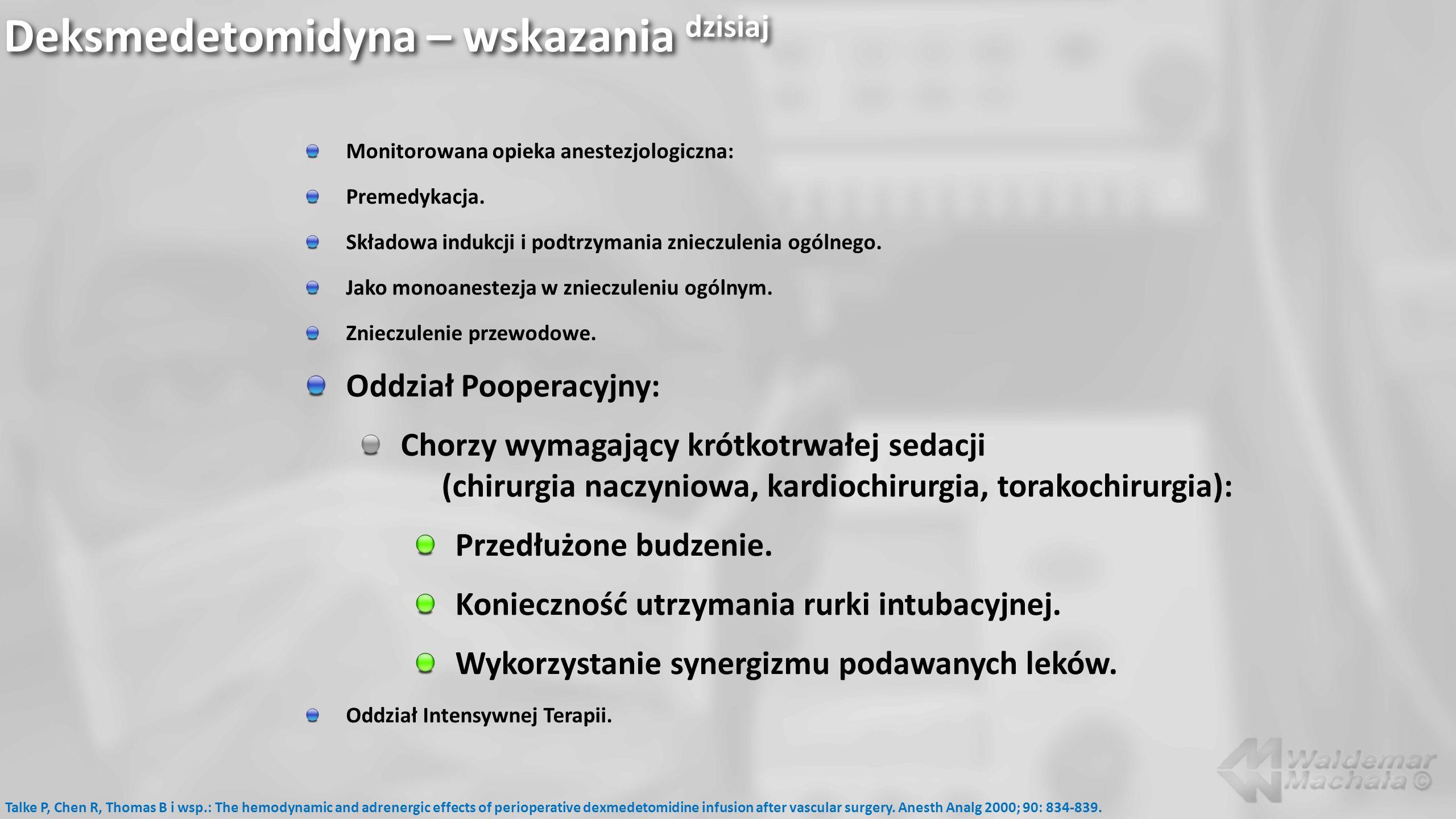 Deksmedetomidyna – wskazania dzisiaj Monitorowana opieka anestezjologiczna: Premedykacja. Składowa indukcji i podtrzymania znieczulenia ogólnego. Jako
