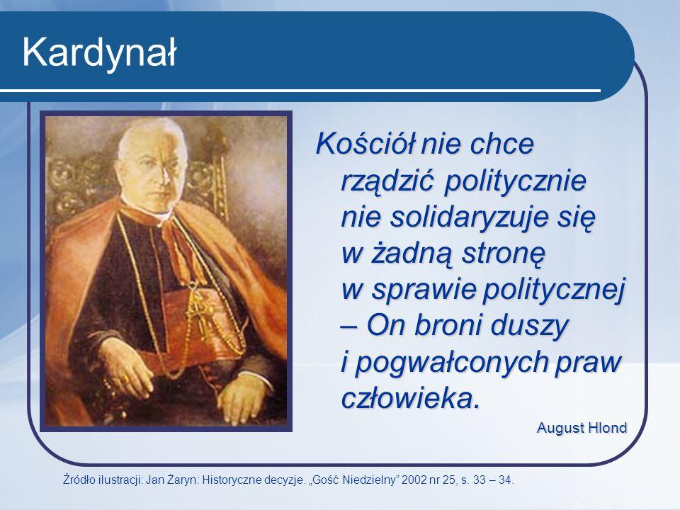 Kardynał Źródło ilustracji: Jan Żaryn: Historyczne decyzje. Gość Niedzielny 2002 nr 25, s. 33 – 34. Kościół nie chce rządzić politycznie nie solidaryz