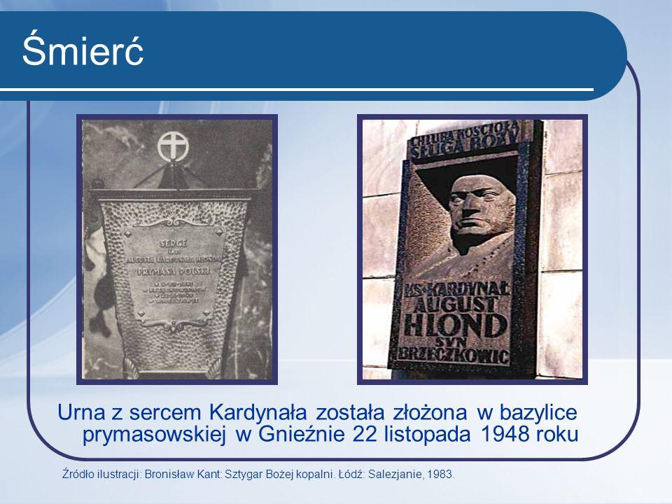 Śmierć Urna z sercem Kardynała została złożona w bazylice prymasowskiej w Gnieźnie 22 listopada 1948 roku Źródło ilustracji: Bronisław Kant: Sztygar B