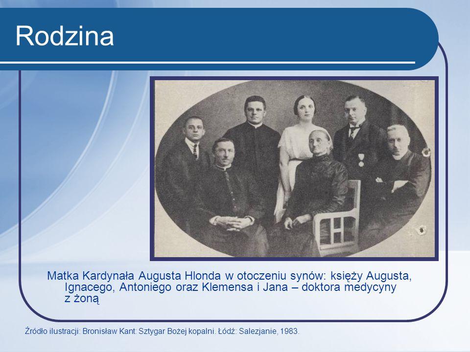 Rodzina Matka Kardynała Augusta Hlonda w otoczeniu synów: księży Augusta, Ignacego, Antoniego oraz Klemensa i Jana – doktora medycyny z żoną Źródło il