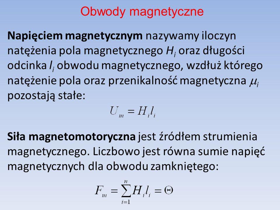 Napięciem magnetycznym nazywamy iloczyn natężenia pola magnetycznego H i oraz długości odcinka l i obwodu magnetycznego, wzdłuż którego natężenie pola