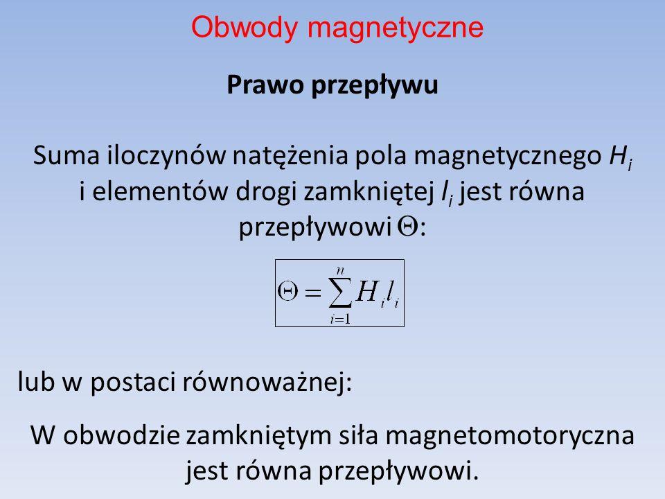 Prawo przepływu Suma iloczynów natężenia pola magnetycznego H i i elementów drogi zamkniętej l i jest równa przepływowi : lub w postaci równoważnej: W
