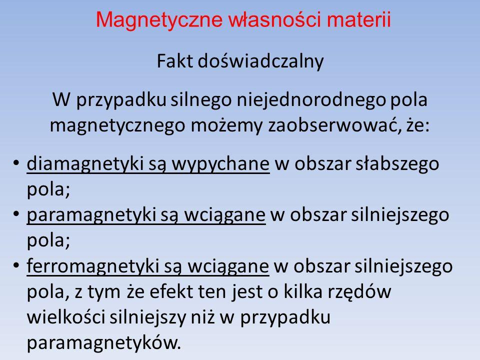 UWAGA gdzie to tzw. podatność magnetyczna. Diamagnetyzm