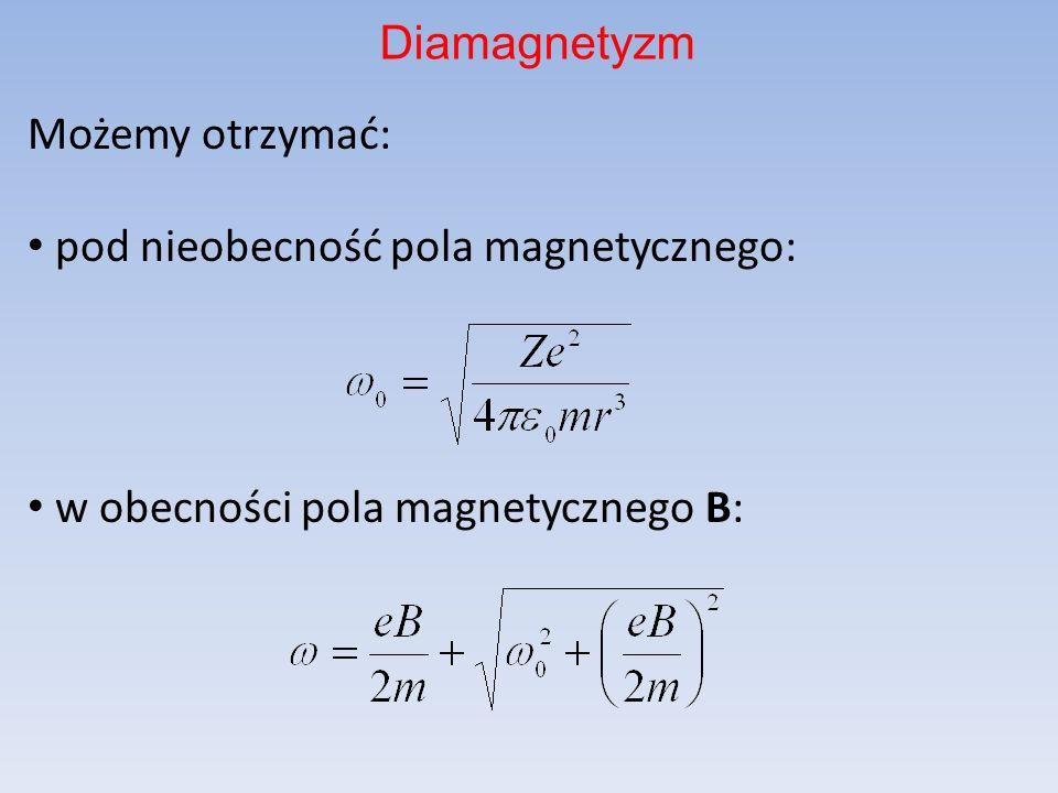 Możemy otrzymać: pod nieobecność pola magnetycznego: w obecności pola magnetycznego B: Diamagnetyzm