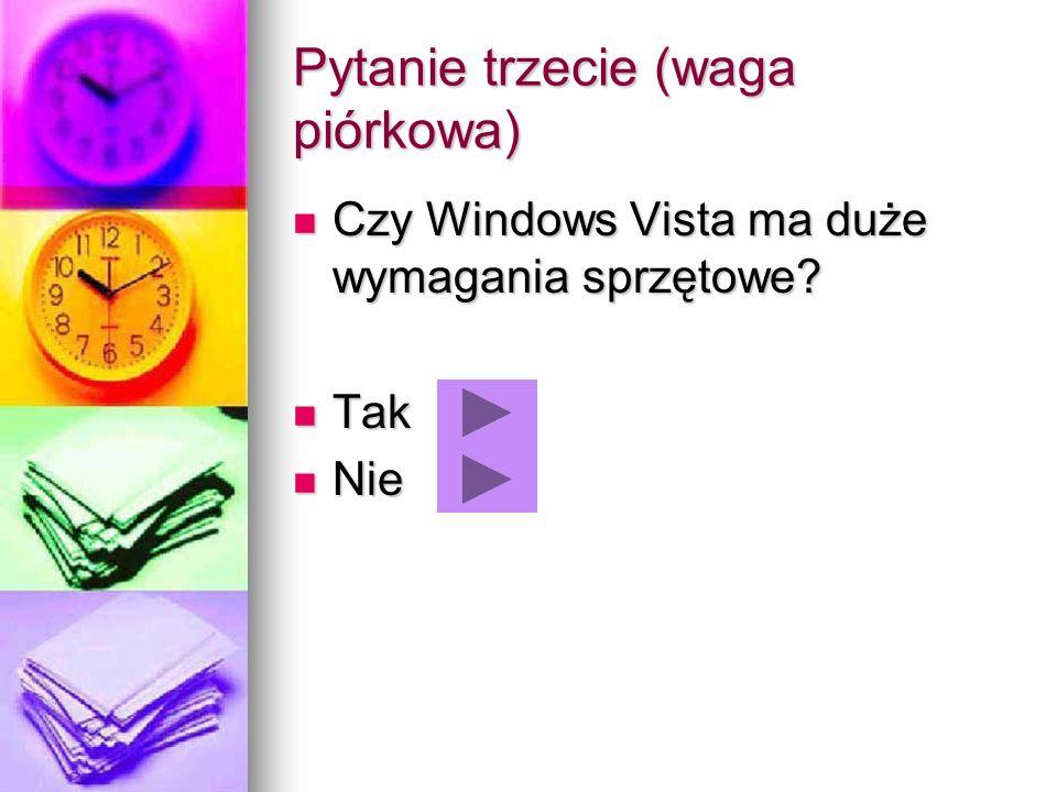 Pytanie trzecie (waga piórkowa) Czy Windows Vista ma duże wymagania sprzętowe? Czy Windows Vista ma duże wymagania sprzętowe? Tak Tak Nie Nie