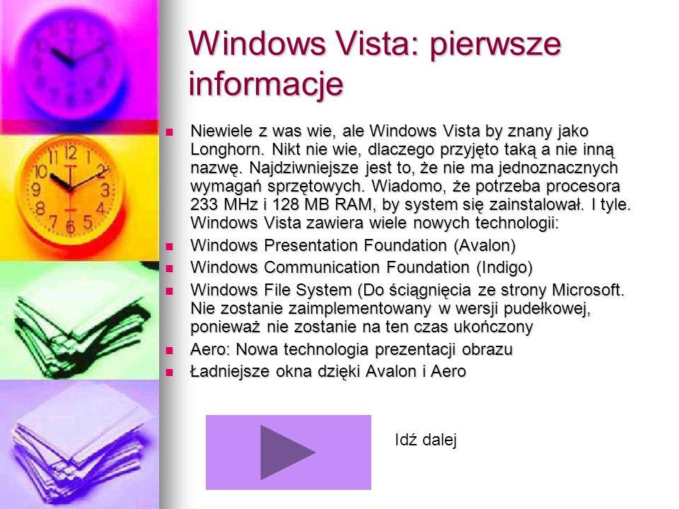 Windows Vista: pierwsze informacje Niewiele z was wie, ale Windows Vista by znany jako Longhorn. Nikt nie wie, dlaczego przyjęto taką a nie inną nazwę