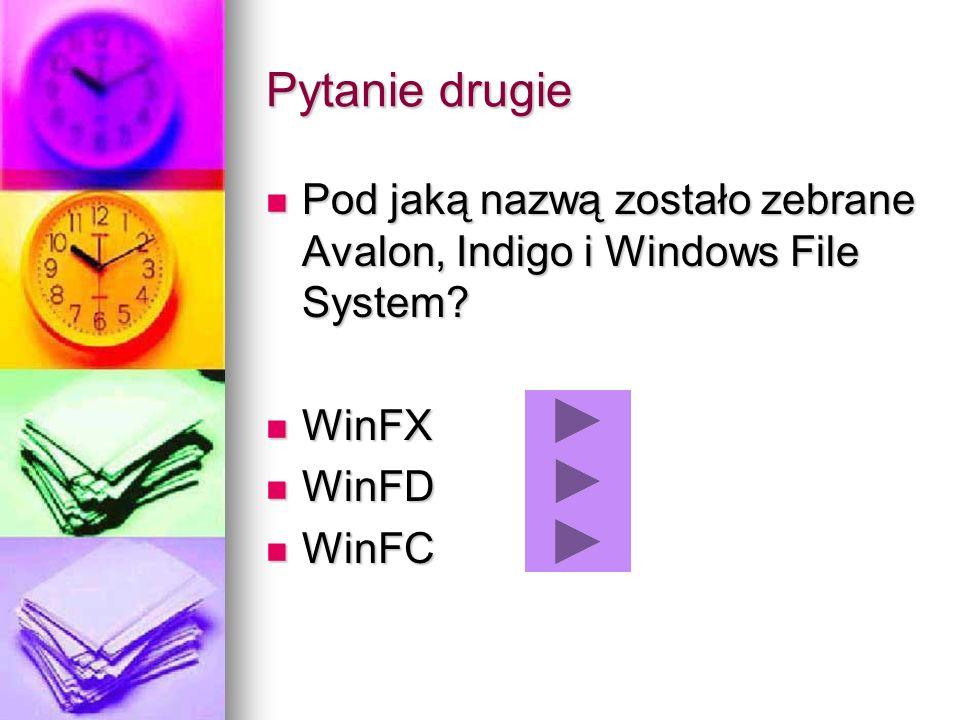 Pytanie drugie Pod jaką nazwą zostało zebrane Avalon, Indigo i Windows File System? Pod jaką nazwą zostało zebrane Avalon, Indigo i Windows File Syste