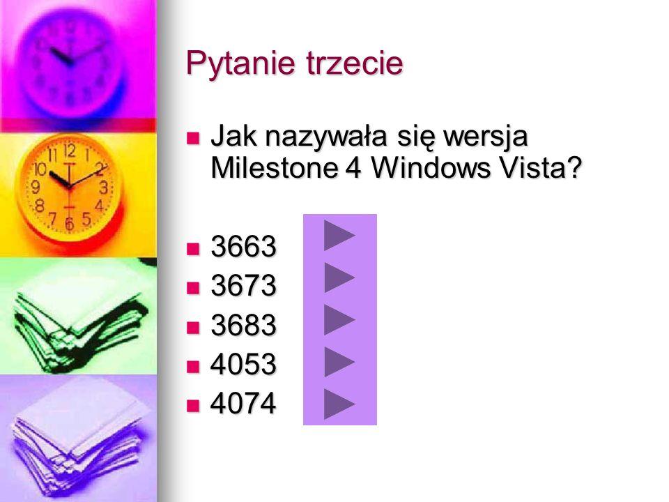 Pytanie trzecie Jak nazywała się wersja Milestone 4 Windows Vista? Jak nazywała się wersja Milestone 4 Windows Vista? 3663 3663 3673 3673 3683 3683 40